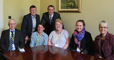 The Greencastle residents' group with Minister Mark H Durkan and South Down MP Margaret Ritchie pictured at Stormont.