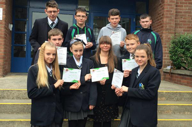 BIC students receive certificates from Angela Hampton for their part in raising over £3600 for @ActionMS