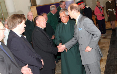 HRH Prince Edward meets Canon Sean Rogan at Down Cathedral. Included in the Dean of the cathedral, the Very Rev Henry Hull, centre.
