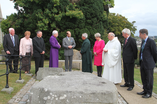 Dean Henry Hull speaking to HRH Prince Edward about St Patrick's Grave.