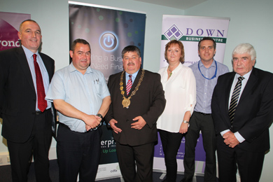 Kieran McMahon, Down Business Centre Board member, Cllr Terry Andrews, Down District Council Chairperson Cllr William Walker, Janice Symington, Down Business Centre general Manager, Michael Forster, Down District Council Business Support Co-ordinator, and Cllr Dermot Curran.