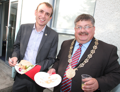 Francis Tumelty of H J I'Boyle Training with Down Council Chairman Cllr Billy Walker at the Beyond launch.