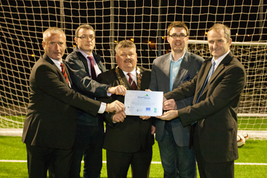 David Heron, Chairperson Killyleagh Football Club, Owen McKinney, Housing Executive, Cllr Billy Walker, Chair Down District Council, Cllr Robert Adair, Chairperson Down Rural Area Partnership Local Action Group and David Small, Deputy Secretary Department of Agriculture and Rural Development.