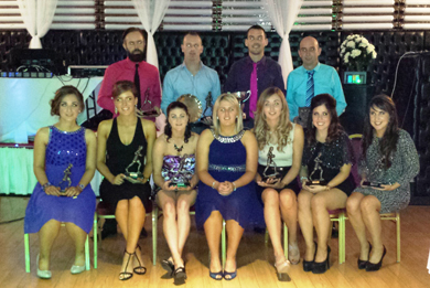 All Awards winners with Kyla Trainor, Down ladies. Back row from left - Alvin Lynch (Sportsperson), Patrick McClean (Managers Player), Donagh Steel (Players Player), Patsy McComiskey (Club Person) ; FRONT ROW FROM LEFT - Corinne Flanagan (Players Player), Laura Lambe (Managers Player), Nuala McAlinden (Most Improved), Kyla Trainor (Guest), Amanda Maginn (Sportsperson), Claire McGuigan (Managers Player), Emma McNeill (Players Player)
