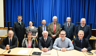 Jim Shannon, front, centre, pic ture with DUP members at his selection convention.