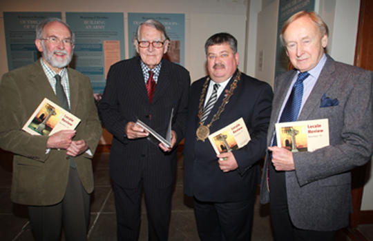 Berkley Farr, Chairman of the Lecale and Downe Historical Society, Maurice Hayes, guest speaker, Down District Council Chairman Cllr Billy Walker, and Walter Love, Society President, at the launch on the 2014 Lecale Review at Down County Museum.