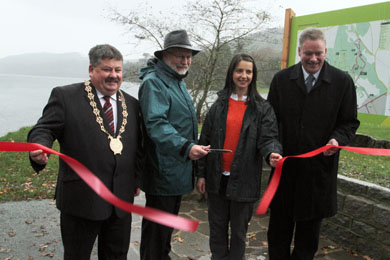 Down District Council Chairman Cllr Billy Walker, Forestry Service Chief Executive Malcolm Beattue, Jill Montgomery, Outdoor Recreation NI and Michael Lipsett, Down District Council  Director of Recreation at the launch in Castlewellan  Forest Park.