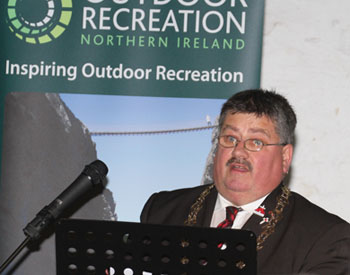 Down District Council Chairman Cllr Billy Walker speaking at the launch of new facilities in Castlewellan Forest Park.