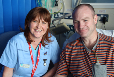 Cardiac nurse Roisin Dorrian with  Sean Mclaughlin who had a heart attack on Saturday evening.