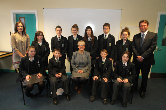 The Blackwater Integrated College student council pictured with Teacher Rachel Morrison, Principal Stephen Taylor and South Down MP Margaret Ritchie, front centre.
