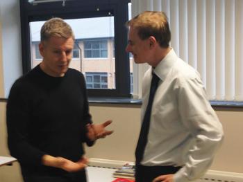 Back to school: Patrick Kielty meets staff from St Patrick's Grammar School.
