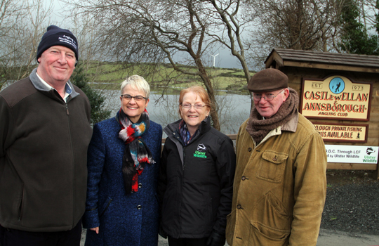 Ken Pressagh, Secretary of the Castlewellan and Annsborough Angling Club, South Down MP Margaret Ritchie, Nicky Brown, LCF Grants Officer with the Ulster Wildlife Trust, and Club Chairman Peter McKee, at Ballylough Lake near Castlewellan.