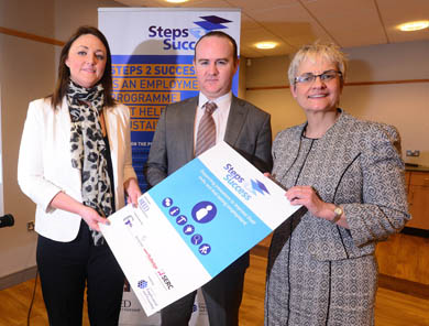 Pictured at the launch of the government's Steps 2 Success employment programme are Elaine Flynn, SERC Steps to Success Programme Manager, Ms Margret Ritchie, MP for South Down and Reed in Partnership Programme Director Peter Brown.