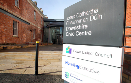 The use of the Irish language has once again become an area of dispute in the shadow Newry Mourne and Down District Council. Pictured is a Down District Council sign at the Downshire Civic Centre which will be redundant after the council merger on 1st April 2015.