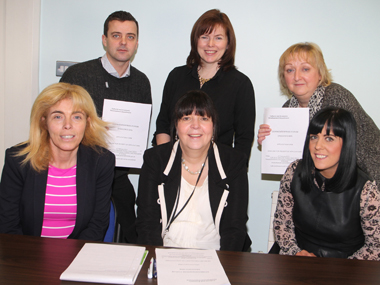Members of the Down Enterprise Forum pictured at the information day for the Dragon's Den-styled competition to be held in March. Back row from left, Alex Gordon, Down District Council, Mary Young, Invest NI, Janice Symington, Down Business Centre,  and front row, Deborah Boden, SERC, Margaret Quinn, Down District Council, and Louise Quinn. DEL.