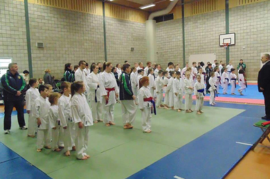 Some of the junior competitors line up before the action.