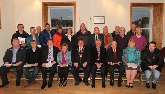 A group photo of the participants at the launch of the Customer Access Centre at the Market House, Ballynahinch including local councillors, Chairman of Council, Cllr Billy Walker and various community groups.