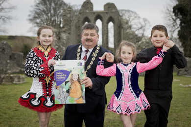 Down District Council Chairman Councillor Billy Walker launches the St Patrick's Festival at Inch Abbey near Downpatrick.