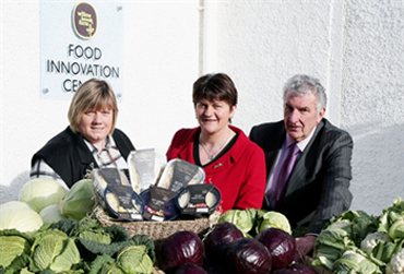 Enterprise, Trade and Investment Minister Arlene Foster announces a £2.3 million investment by Willowbrook Fine Foods Ltd (WFFL) which will create 55 jobs at the company's Killinchy factory. Pictured with the Minister are WFFL Joint Managing Directors Andrea Nelson and John McCann.