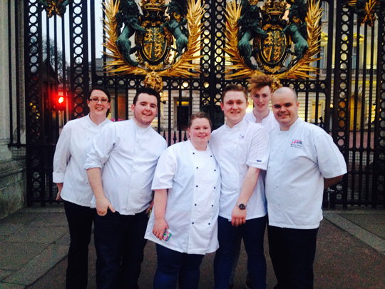 Congratulations to the five-part team of SERC professional cookery students Roisin Mckeown, Ryan Cunningham, Curtis Rea Judith Lyons and David Magee who recently competed at Buckingham palace and came second in the Craft Guild of Chefs 50th anniversary Canapé competition, led by their tutor Michael Gillies.