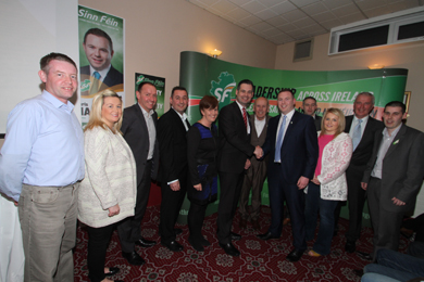 Chris Hazzard MLA puctured with party representatives and local councillors including South Down MLA Caitriona Ruane and Donegal TD Pearse Doherty.
