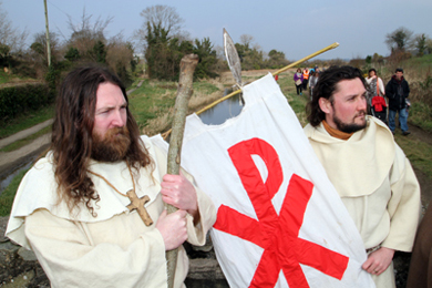A young St Patrick, left, stands at the Slaney River where he landed.