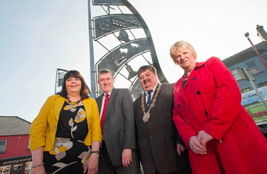Pictured in the MArket Square in Ballynahinch are Margaret Quinn, Projects Manager with Down District Council, DSD Minister Mervyn Storey, Down District Council Chiarman Cllr Billy Walker, and Cllr Anne McAleenan, Chair of the Project Board.