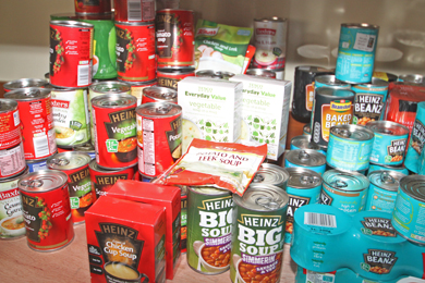 Some of the items donated to Fountain Foodbank.