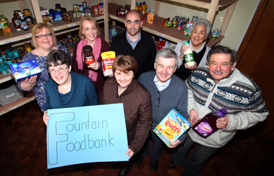 Pictured were volunteers at the Fountain Foodbank launch in March 2015  from left, back row, Sarah Shields, Carole Gill, the Rev Owen Patterson, and Connie Macrae, with front row, Karen Campbell, Shirley Lennon, Fountain Foodbank Co-ordinator, Robert Shields and Roger Dunford