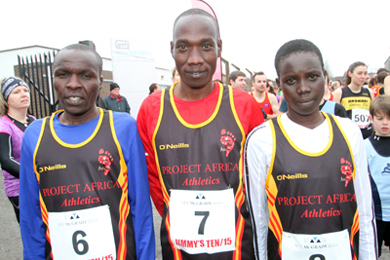 The African runners: 2nd Vincent Kirotich, 1st, Gideon Kinosop and 1st lady was Selinah Kangogo.