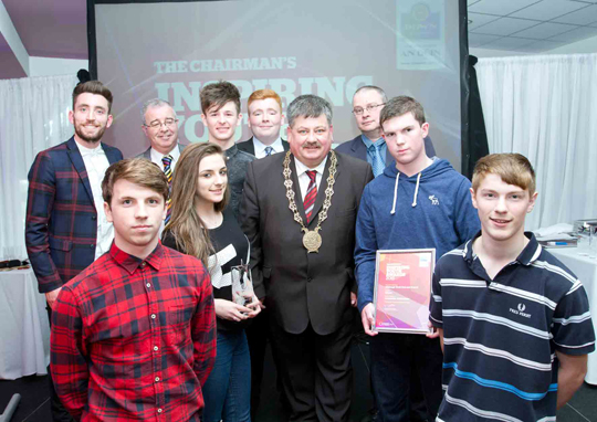 Councillor Billy Walker at the Inspirational Youth Awards with the Killyleagh Drop-In Centre Youth Group.