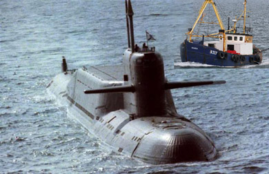 A rough comparison of the size of a nuclear submarine and the Karen.