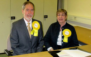 Alliance Westminster candidate Martyn Todd with his election candidate Mary Farr.