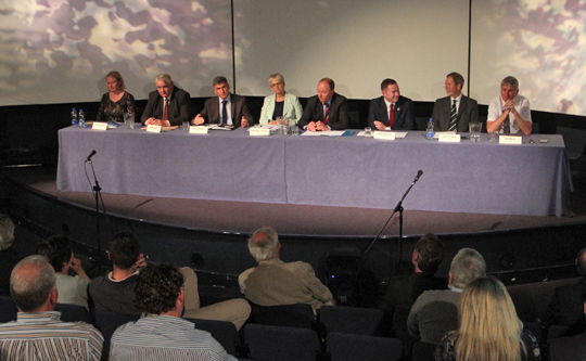The candidates in the South Down hustings debate in the St Patrick Centre with chairman Paul Symington.
