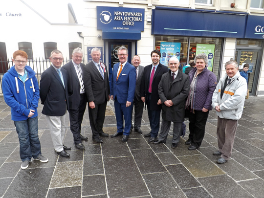 Cllr Robert Burgess, fourth left, UUP Strangford Westminster candidate, flanked by Jim Nicholson MEP and UUP Party Leader Mike Nesbitt.