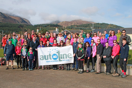 Some of the Autoline staff, family and friends who braved Slieve Donard on a charitable hike.