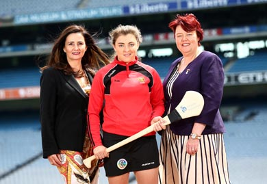 Pictured are Annette Ni Dhathlaoi, Head of Marketing Liberty Insurance, Down's Niamh Mallon, and President of the Camogie Association Catherine Neary. (Photo by Cathal Noonan).