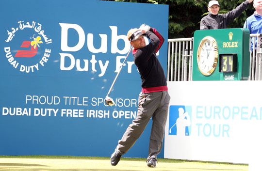 The winner Soren Kjeldsen tees off in the Dubai Duty Free Irish Open 2015 held at Royal County Down.