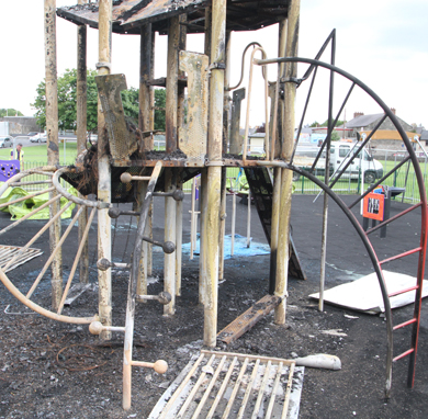 The climbing tower... destroyed by arson.