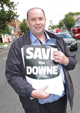 Eamonn McGrady, chair of the Down Community Health Committee, on the white line protest in Castlewellan.