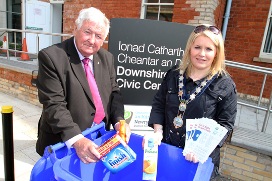 Pictured from left to right sponsor Austin Hanna from Castlereagh Motors and Newry, Mourne and Down District Council Chairperson Cllr Naomi Ballie.