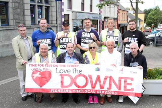 Some local supporters and politicians get set for the white line protest in Castlewellan.