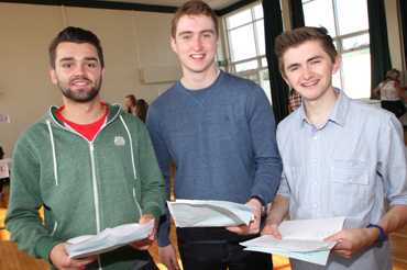 Just checking their A Level results at the Down High School were Reuben Black, Peter Morrison and Matthew Lennon.