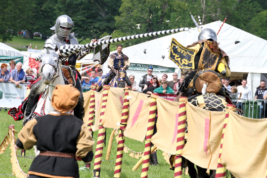Crash, bang, wallop! The knights of the Les Amis d'Anno do battle with lances.