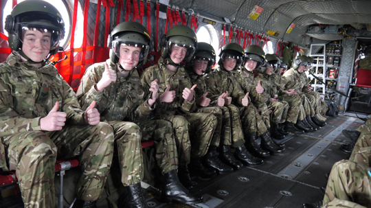 Cadets in a Chinook helicopter.
