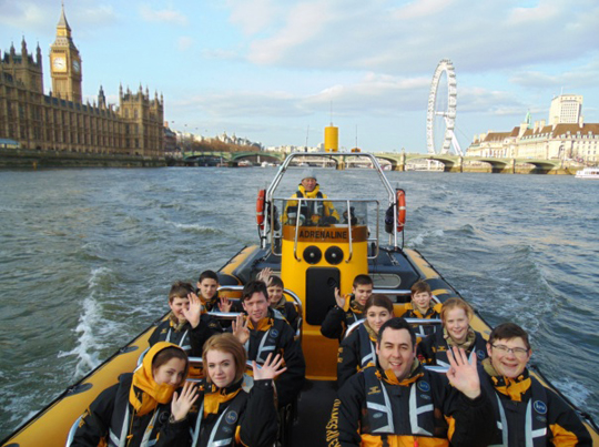 Cadets enjoy a RIB cruise up the River Thames past the House of Commons.