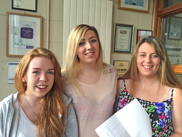 Shimna Integrated College pupils Niamh Redmond, Chloe Vaughan and Clarissa Murphy were delighted with their A Level results.
