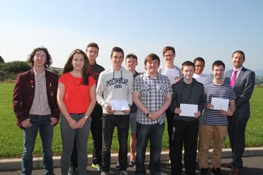 Pupils who achieved three A* at St Patrick's Grammar School.