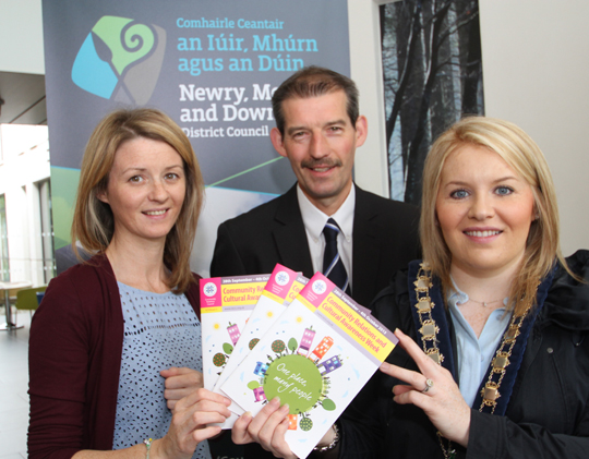 Newry Mourne and Down Council Chairperson Cllr Naomi Bailie, right, with Kerry Morrow, Good Relations Officer, and Damien  Brannigan, Community Relations Manager.