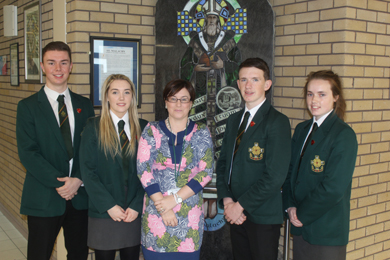 The new Principal of St Malachy's High School Castlewellan, Mrs Orla O'Neill, is pictured with the Student Head Team for academic year 2015/2016, (from right) Conor Bates (Deputy Head Boy), Tierna Moorehead (Head Girl), Miceal Rooney (Head Boy) and Leanne Domican (Deputy Head Girl).